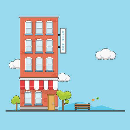penthouse: Brick Apartment building with cartoon looks vibrant color Illustration