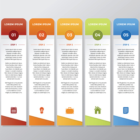 blue bulb: Infographic in vertical style with different color and icon Illustration