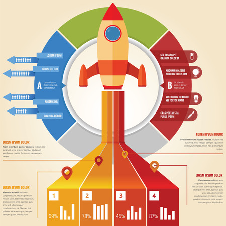 Business rocket infographic with pie chart and graphic Illustration