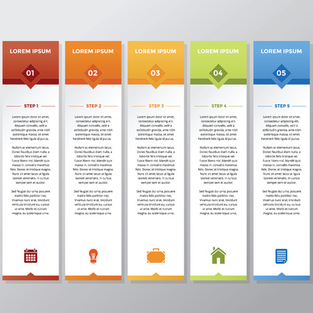 Infographic in vertical style with different color and icon Illustration