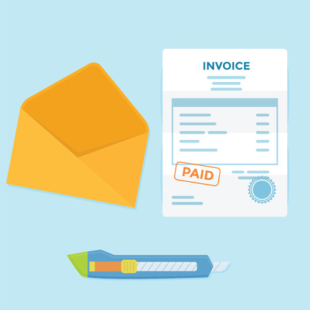 invoices: Invoice paper bill comes from envelope need to pay