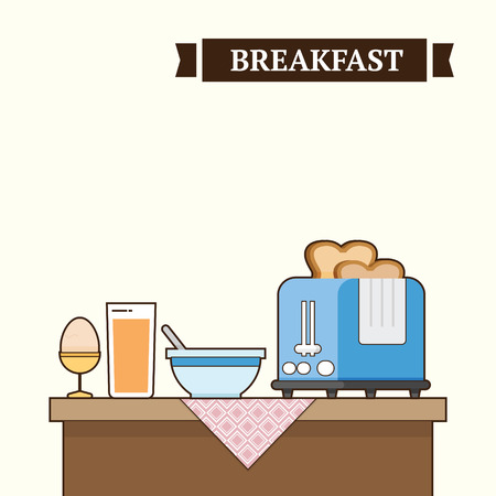 A bunch of breakfast in table in the morning