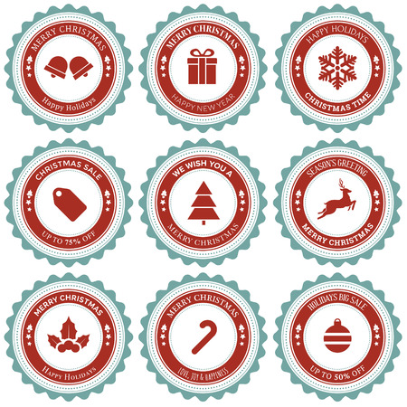 Christmas greeting rounded badge and ornament with vintage design