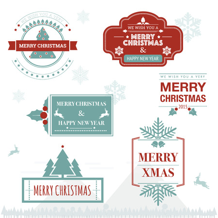 Christmas greeting badge and ornament with vintage design Illustration