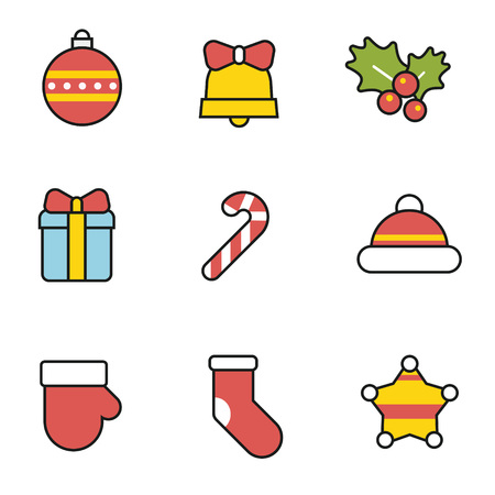 Cute christmas icon set with black outline