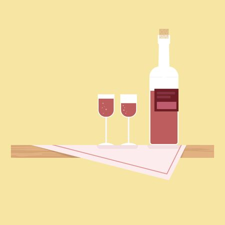 Wooden table with table cloth and wine