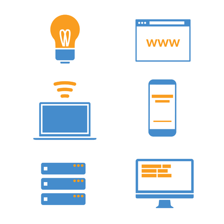 Technology icon collection with blue and orange color combination Illustration