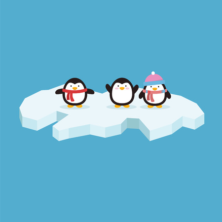 Cute penguin with variation style and position in iceberg Illustration