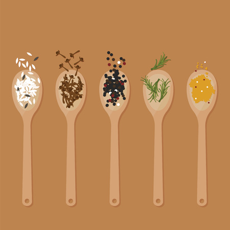 cloves: Some spice and herb in wooden spoon Illustration