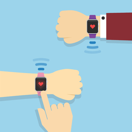 Smartwatch technology concept with sending love message Illustration