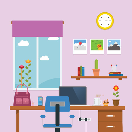 Work Place in the lady room with laptop in the desk Illustration