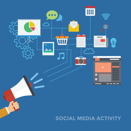 Effect of social media activity illustration with flat design