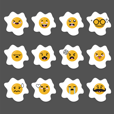 sunny side up: Smilies emoji emoticon face in Sunny side up egg with a lot of variation