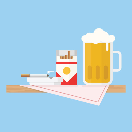 Wooden table with table cloth and beer