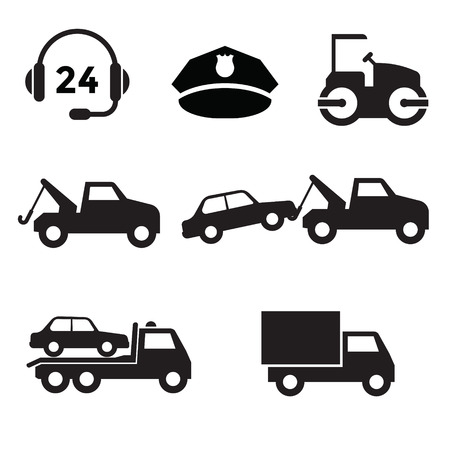Towing car icon collection with black and flat design