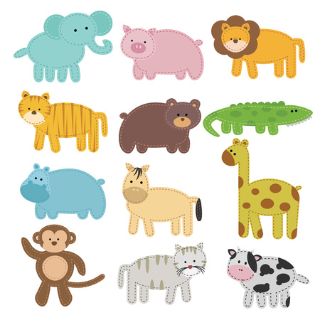 cute bear: Animal collection in sheet with stitch effect on it