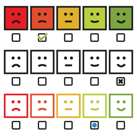 Satisfaction rating with smilies face icon variation