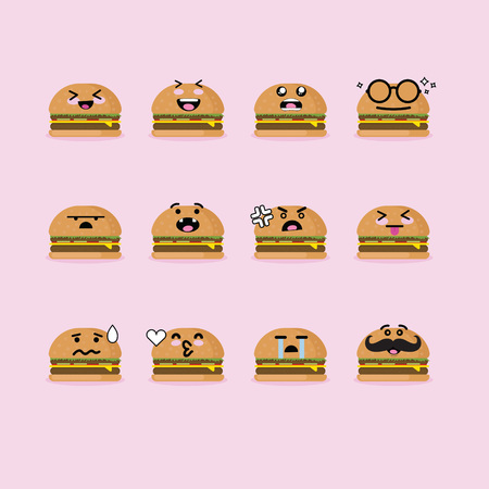 Smilies emoji emoticon face in hamburger with a lot of variation