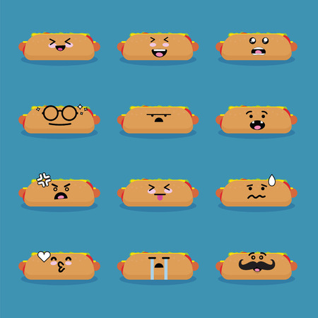 Smilies emoji emoticon face in hotdog with a lot of variation.