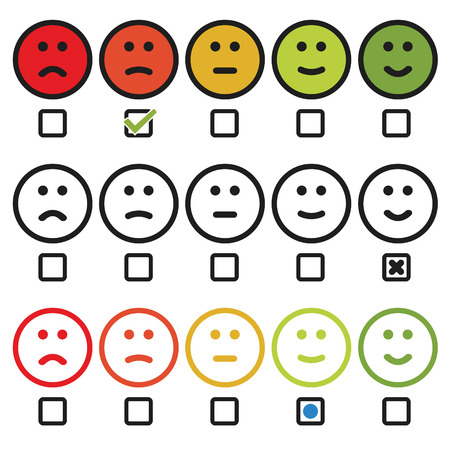 Satisfaction rating with smiley face icon variation