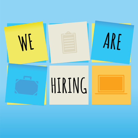 We are hiring concept on sticky notes