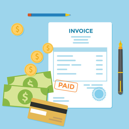 Invoice paper bill with money and credit card Illustration