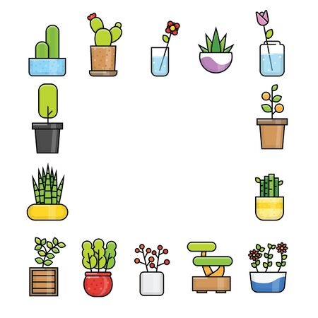 Flower pot icon collection set with outline and modern style Stock Illustratie