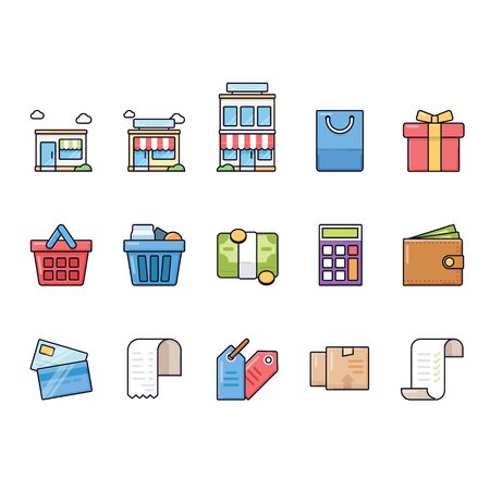 Ecommerce icon collection set with outline and modern style Illusztráció