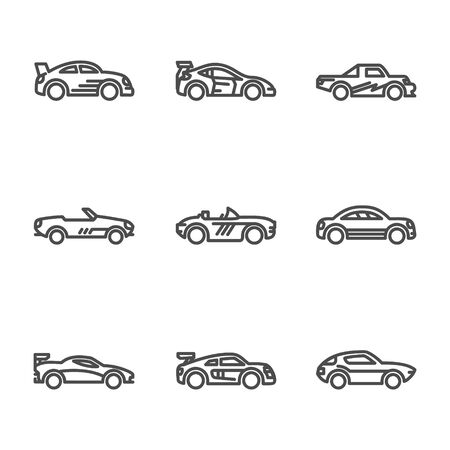 Linear car icon with outline and different kind of car