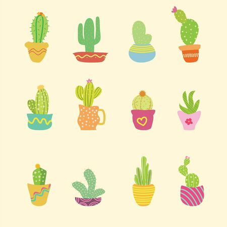 Hand drawn cactus with doodle style and colorful
