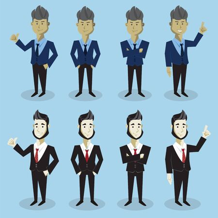 Business Man Cartoon frontal with different pose and skin