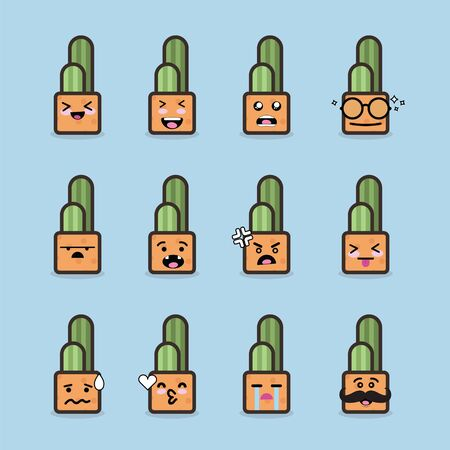Smile emoji emoticon face in cactus with a lot of variation