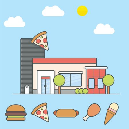 Pizza store building with flat design and fast food