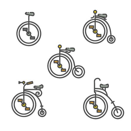 Linear classic bicycle and unicycle icon with flat design Illustration