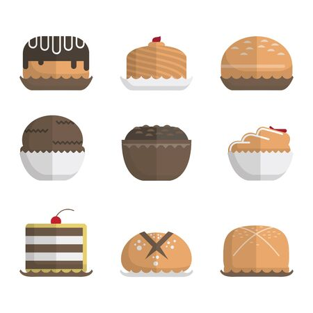 Bread and bun modern icon with different style Illustration