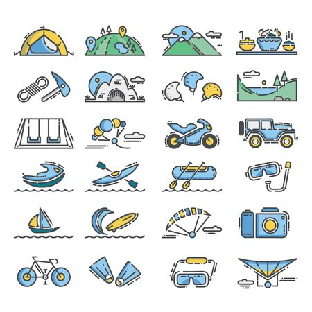 Outdoor activity icon with flat design and outline