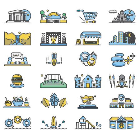 Outdoor activity icon with flat design and outline Stock Vector - 145562175