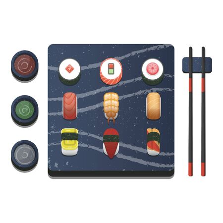 Sushi Icon on the stone plate with chopstick Vettoriali