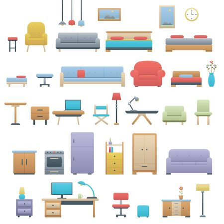 Furniture icon collection set with smooth and gradient style Vettoriali