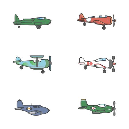 military classic airplane icon flying view from side