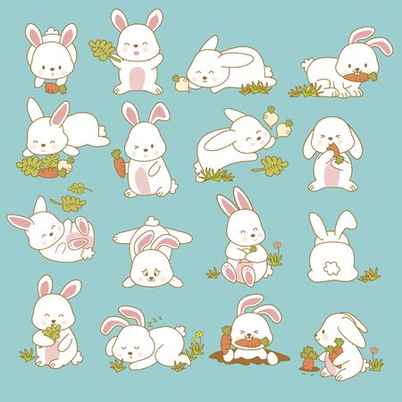Hand drawing cute rabbit with a lot of variation