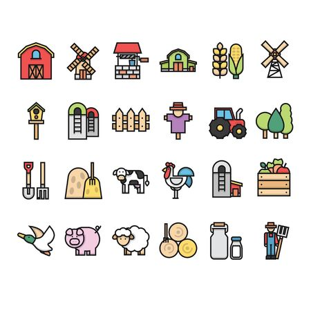 Farm and livestock icon collection set with outline and modern style