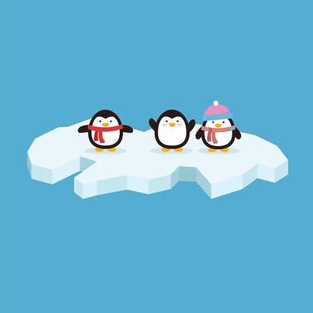 Cute penguin with variation style and position in iceberg Çizim