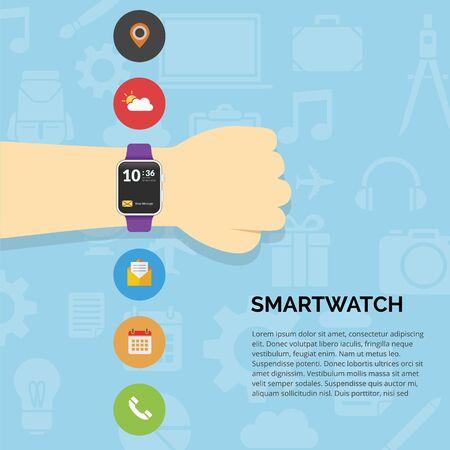 Hand wear technology smartwatch with flat design