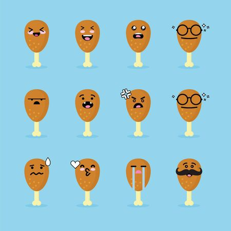 Smilies emoji emoticon face in fried chicken with a lot of variation Stok Fotoğraf - 145502956