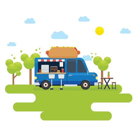 Food truck selling hamburger and hotdog in the park
