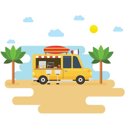 Food truck selling drink and hotdog in the beach