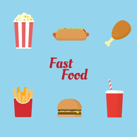 Fast food icon and symbol with six item