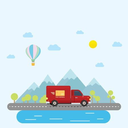 Van Truck post delivery across country at afternoon