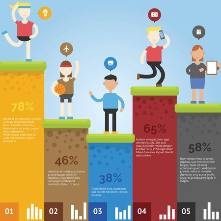 Infographic concept with people in different style and graphic chart